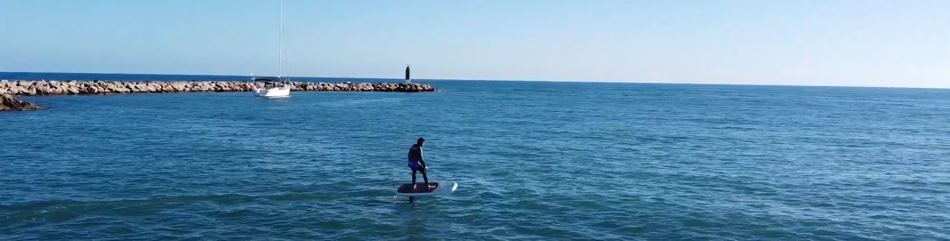 Man riding by boat